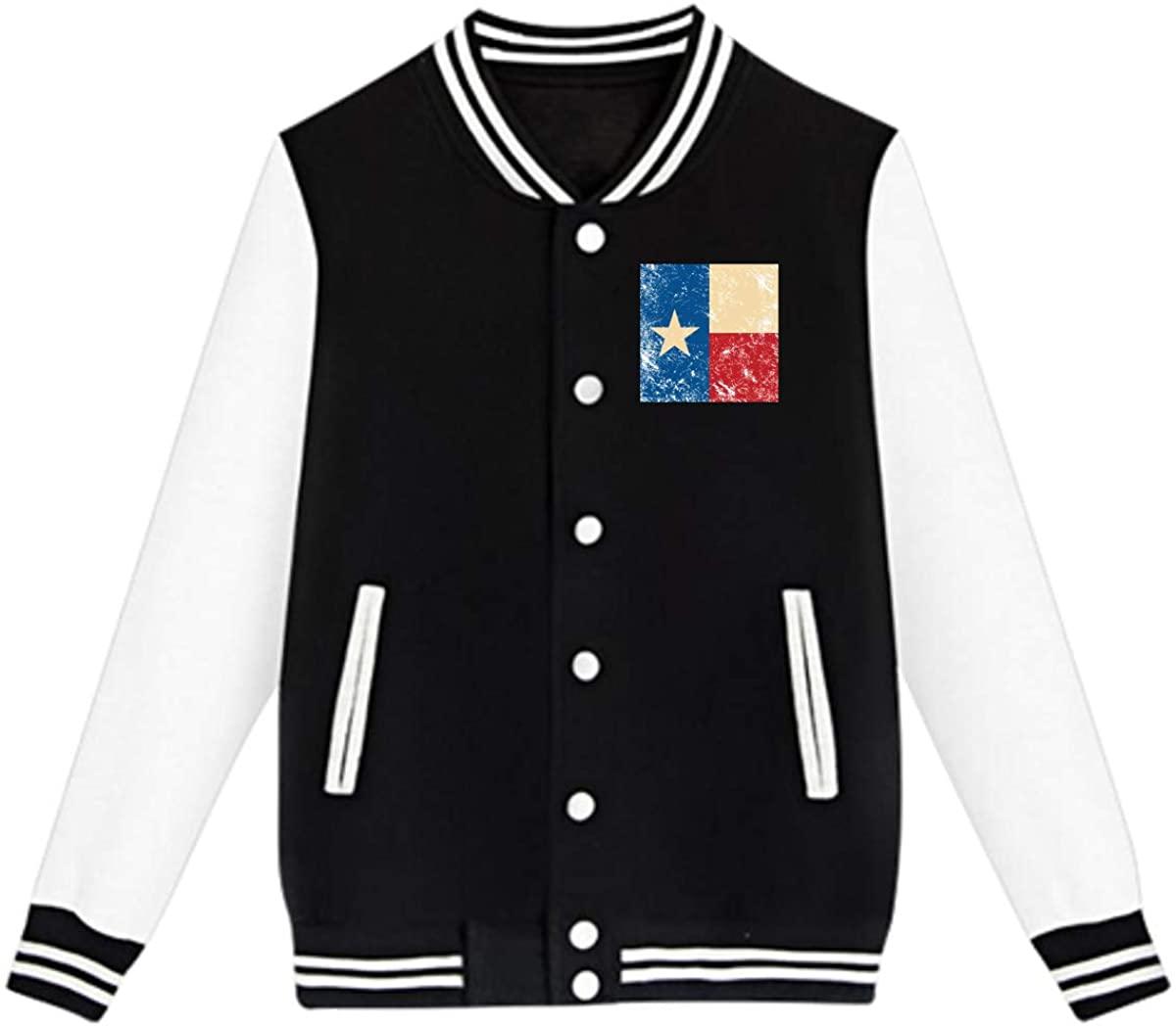 Texas Retro Flag Baseball Jacket Custom Fleece Varsity Uniform Sport Coat for Youth