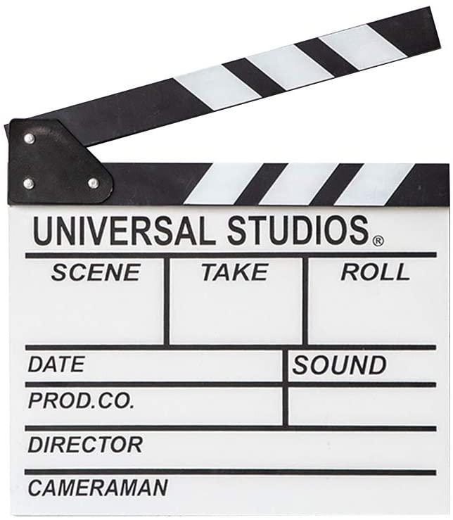 Deryohaha Director Film Clapboard Action Scene Clapper Board Director Board Wooden Movie Film Clap Slate, L, White