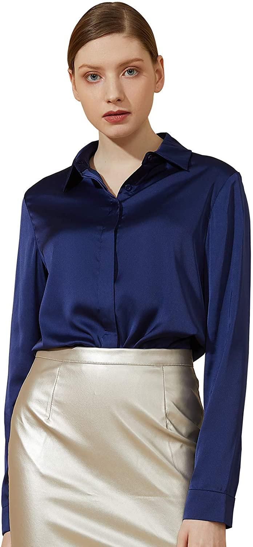 Escalier Women's Satin Silk Long Sleeve Button Down Shirt Casual Work Office Silky Blouse Top