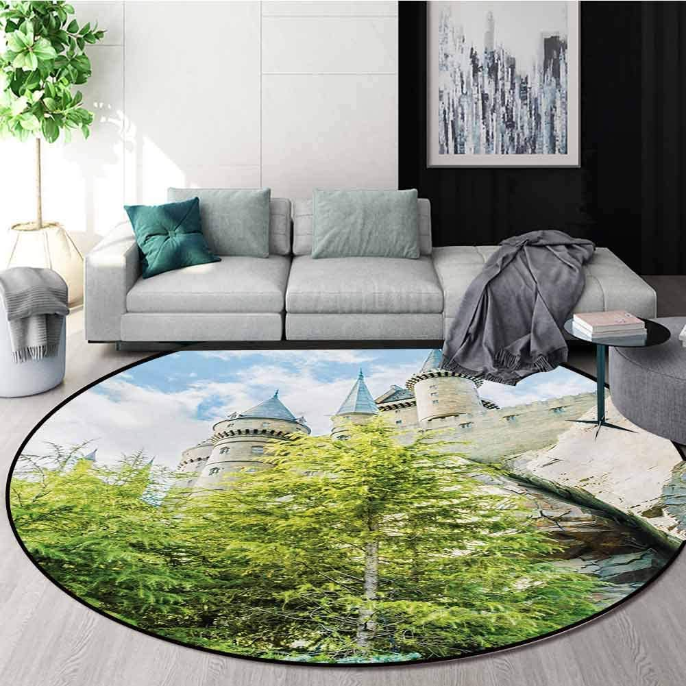 RUGSMAT Wizard Machine Washable Round Bath Mat,Witchcraft School and Wizard Castle in Woods Replica in Japan Picture Print Non-Slip No-Shedding Bedroom Soft Floor Mat,Round-55 Inch
