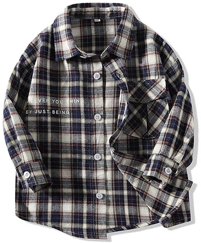 Hemopos Toddler Boys Long Sleeve Lapel Plaid Shirts Size 1-7 Years