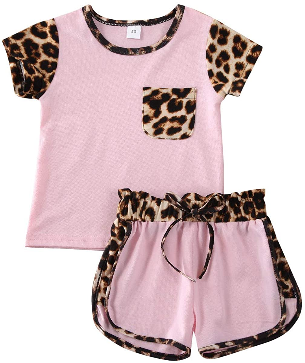 Toddler Baby Girl Summer Outfit Short Sleeve Pocket Top T-Shirt+Belt Shorts Leopard Clothes Set