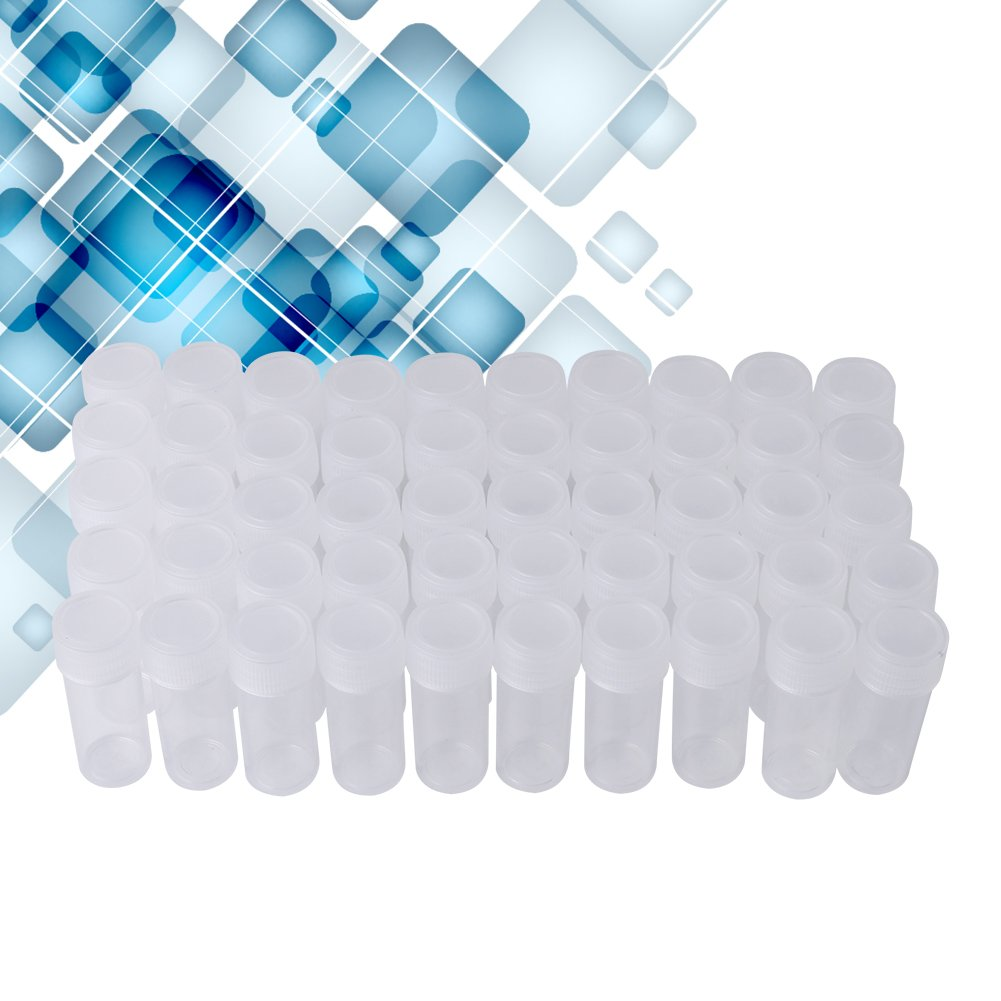5ml 100pcs Plastic Liquid Sampling Sample Bottles Vials Tube with Caps Sample Storage Container Fragrance Beads Liquid, Plastic Sample Bottle 5ml (0.17 Oz) Pack of 100