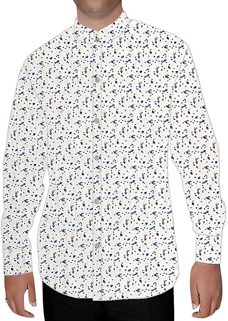 INMONARCH Mens White Cotton Nehru Collar Shirt Blue Print NSH17031CUSTOM-MADE Custommade White