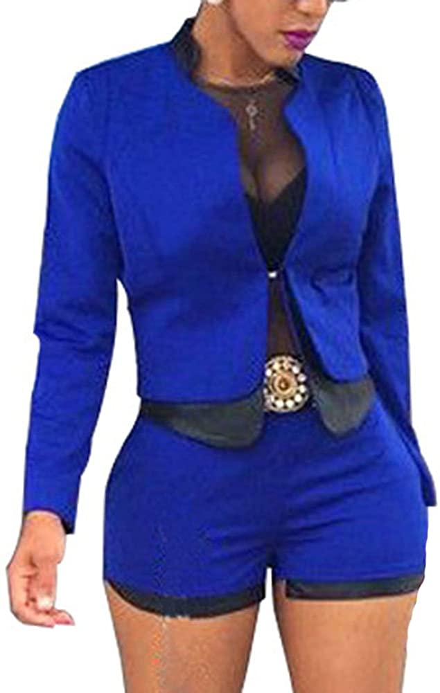 Women's 2 Pieces Outfits PU Patchwork Jacket and Shorts Suit Office Set