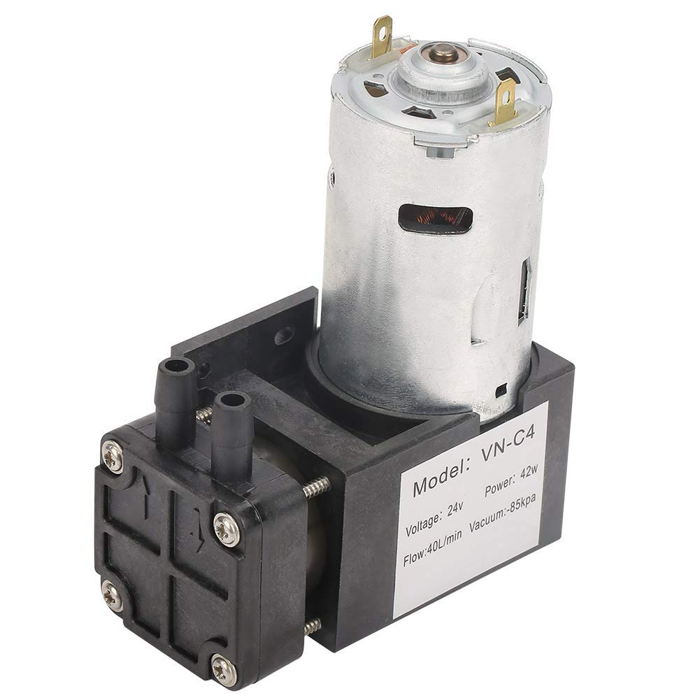 Vacuum Pump, DC24V Mini Small Oilless Vacuum Pump -85KPa Flow 40L/min for Gas Air