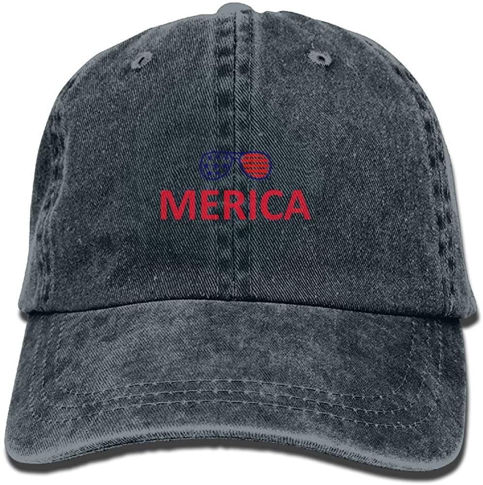 American Flag Glassess Adult Adjustable Denim Hat Baseball Cap