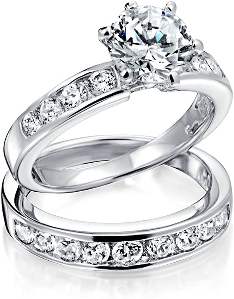 2CT Cubic Zirconia Round Solitaire 6 Prong Thin Pave Band AAA CZ Engagement Wedding Ring Set 925 Sterling Silver