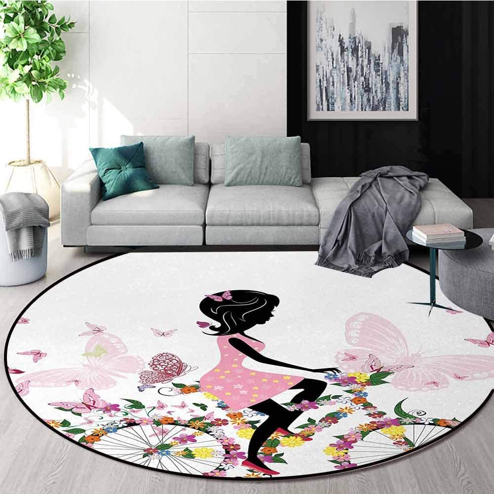 Bicycle Round Rug,Girl In A Pink Dress Riding A Bike With Colorful Flowers And Romantic Butterflies Carpet Door Pad For Bedroom/Living Room/Balcony/Kitchen Mat Diameter-39 Inch,Multicolor