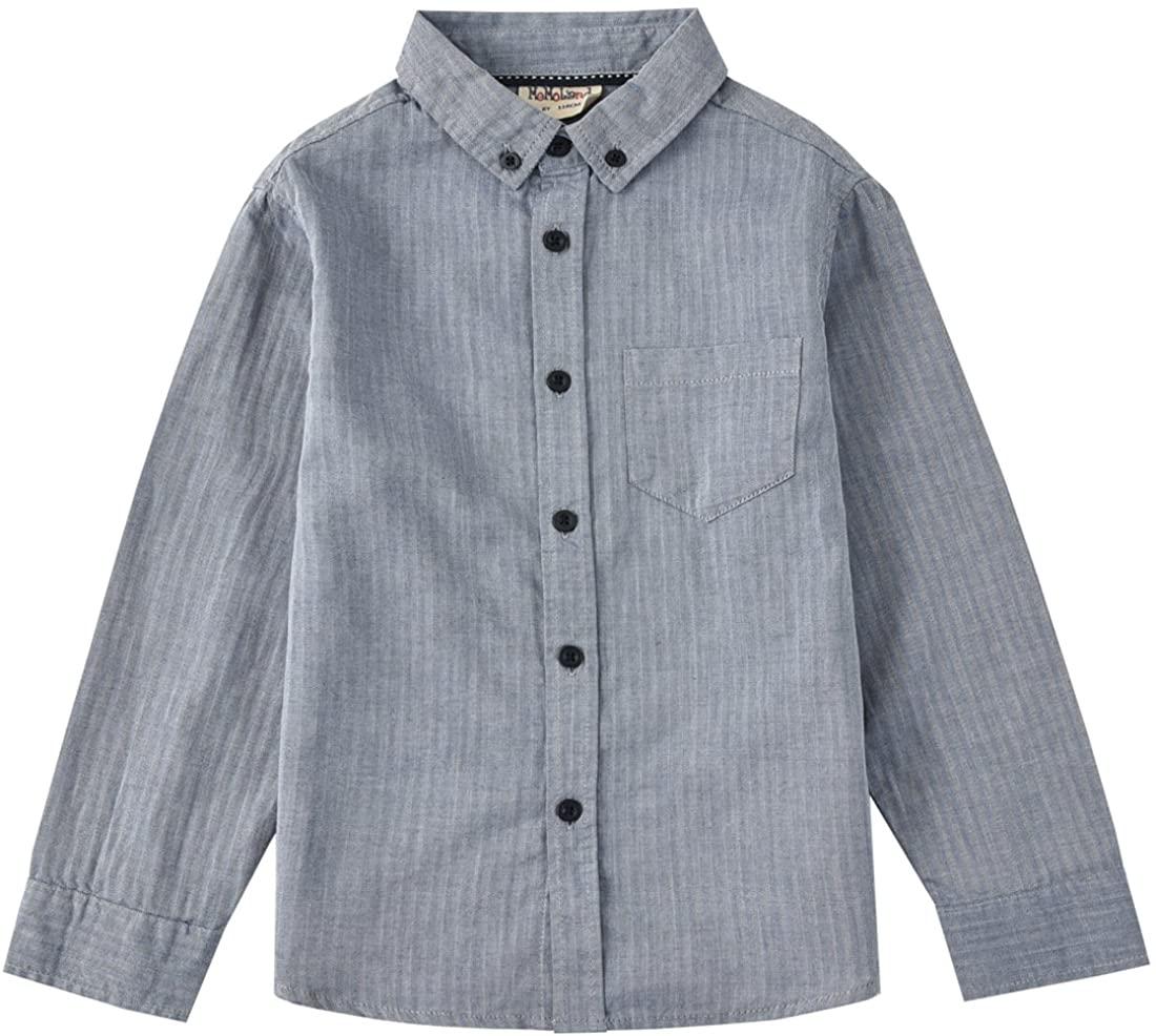 MOMOLAND Boys' Long Sleeve Woven Poplin Button Down Shirt Chambray Navy Herringbone