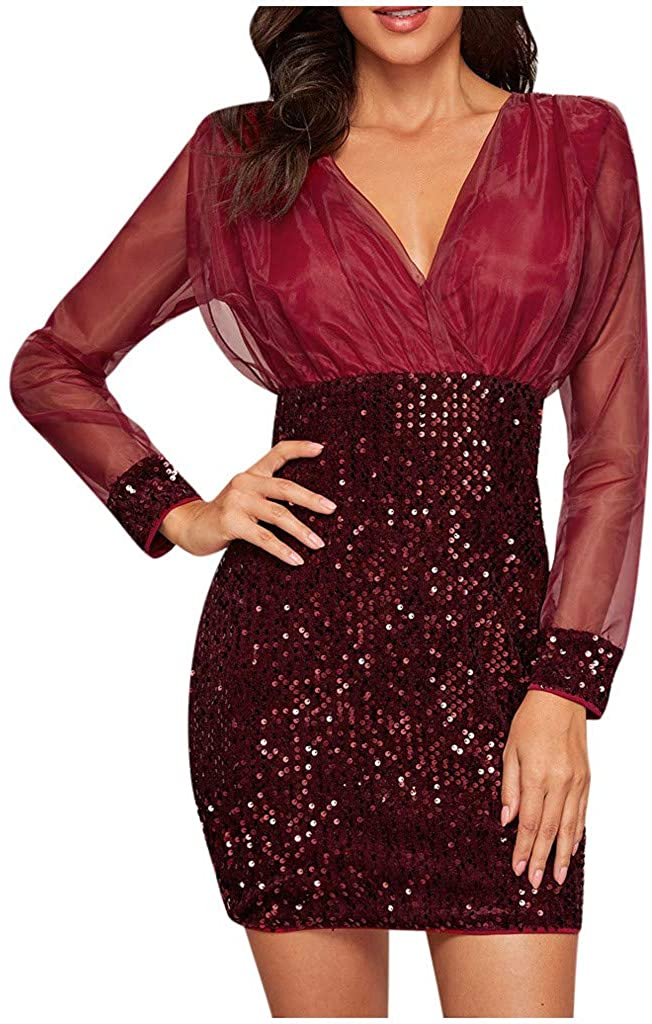 HCFKJ Fashion V-Neck Mesh Sleeve Sequins Patchwork Casual Elegant Party Skirt Dress for Women Black Wine S-XXL
