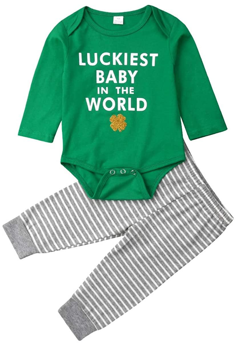 Baby Boy Girl My 1st ST Patricks Day Print Long Sleeve Romper Striped Pants 2Pcs Outfits Set