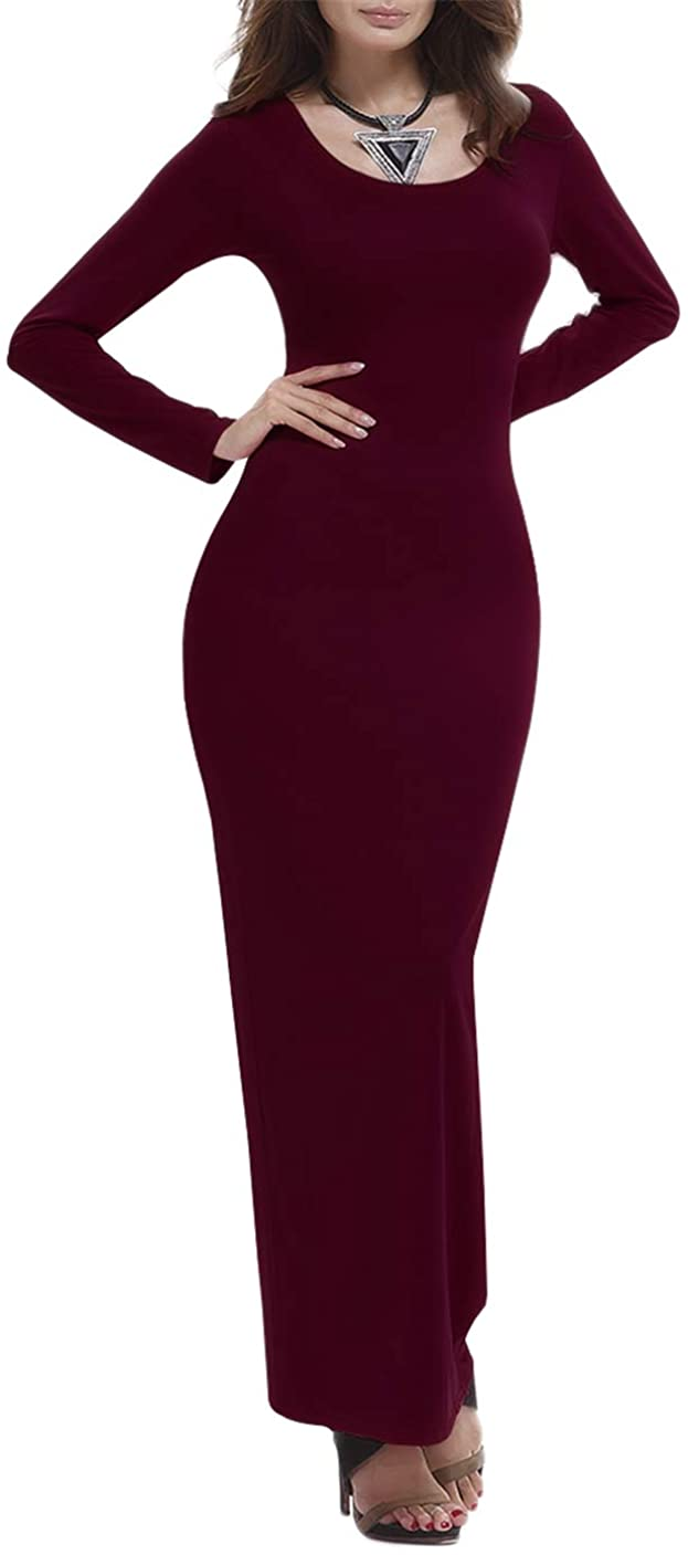 GRASWE Women's Casual Long Sleeve Long Dress Solid Color Bodycon Slim Maxi Dress