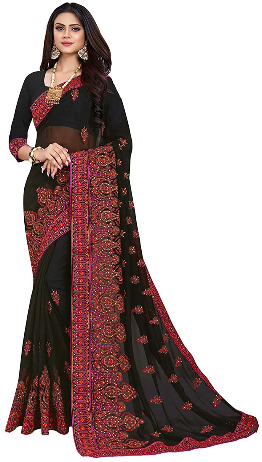 Saree for Women Bollywood Wedding Designer Gorgette Sari with Unstitched Blouse. Black