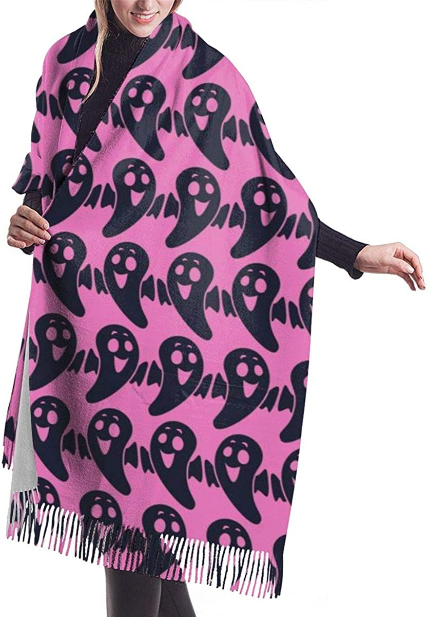 Halloween Ghost Pattern Women's Winter Warm Scarf Fashion Long Large Soft Cashmere Shawl Wrap Scarves