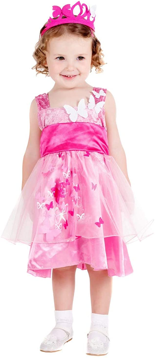 Toddlers Princess Butterfly Costume Kids Royal Gown Fairy Tale Pink Dress