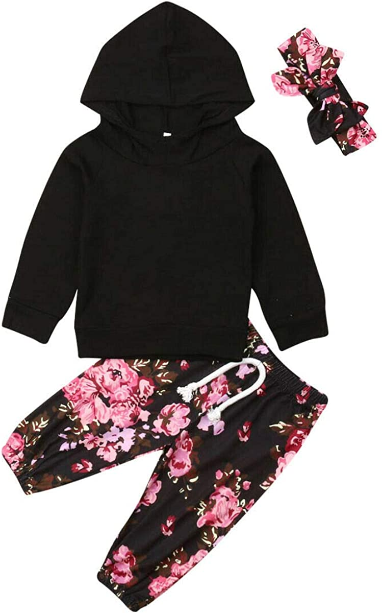 Infant Baby Girl Fall Winter Outfits Long Sleeve Hooded Sweatshirt Floral Pants Headband Set