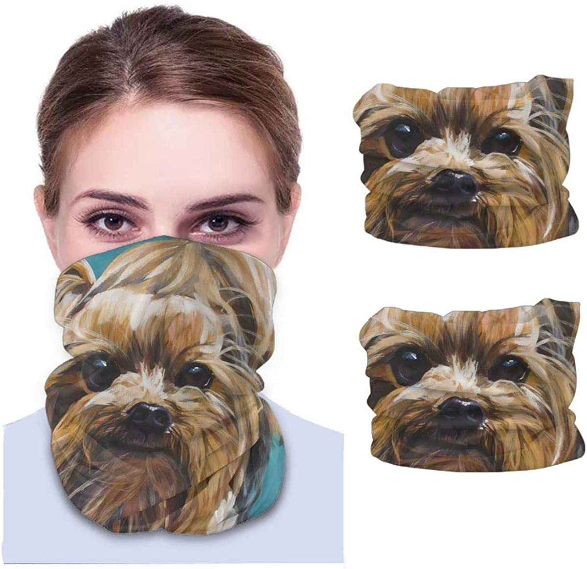 Art Yorkshire Terrier Teacup Dog Cute Unisex Adult Face Mask 2 Pack Neck Gaiter Reusable Washable Windproof Mask Sports Outdoors Half Balaclava Ski Mask Bandana Women Men Gifts