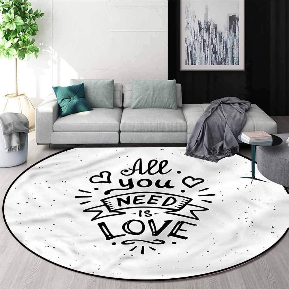 RUGSMAT Love Warm Soft Cotton Luxury Plush Baby Rugs,Hippie Vintage Grunge Living Dinning Room & Bedroom Rugs Round-63