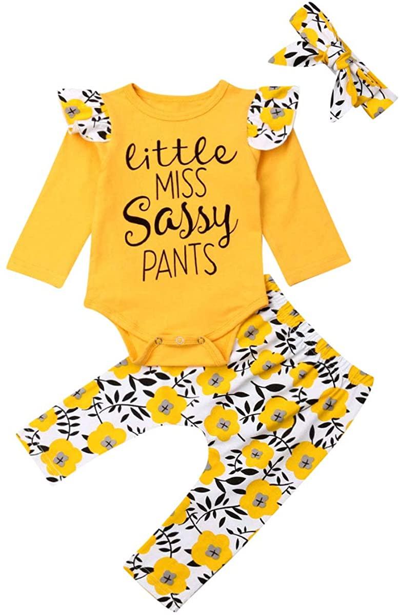 2Pcs Infant Toddler Baby Girl Little Miss Sassy Letter Print Long Sleeve T-Shirt Tops Avocado Dinosaur Pants Set