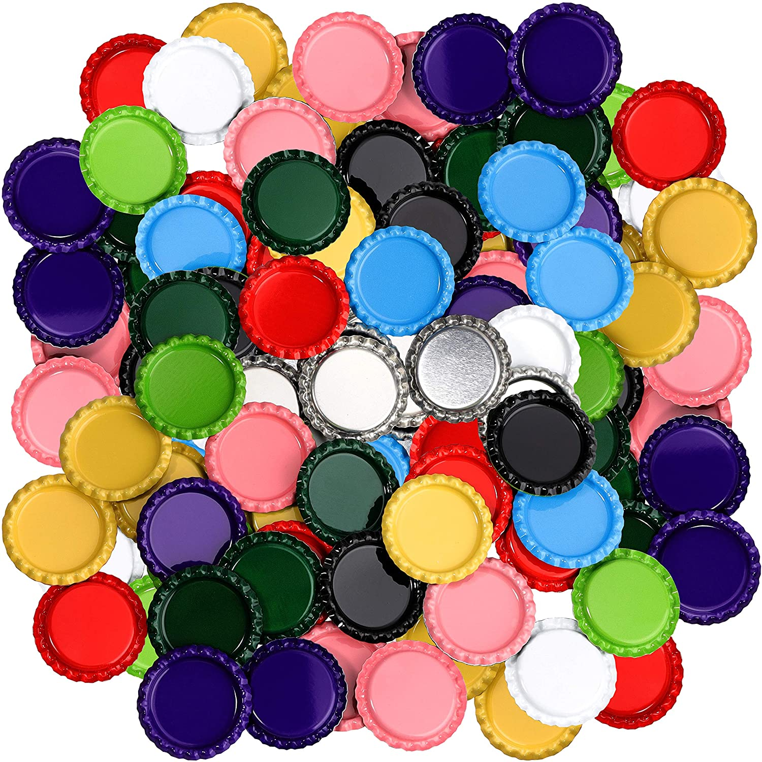 RUTICH 100 PCS Flat Decorative Bottle Cap Craft Bottle Stickers Double Sideds Printed for Hair Bows, DIY Pendants or Craft ScraPbooks,Mixed Colors(10 Colors)