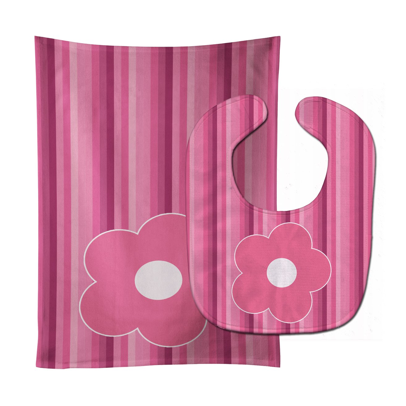 Caroline's Treasures BB8595STBU Pink Flower on Stripes Baby Bib & Burp Cloth, 11 x 18