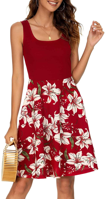 VETIOR Flared Tank Dress, Vintage Scoop Neck Dress Sleeveless Midi Dress with Pockets …