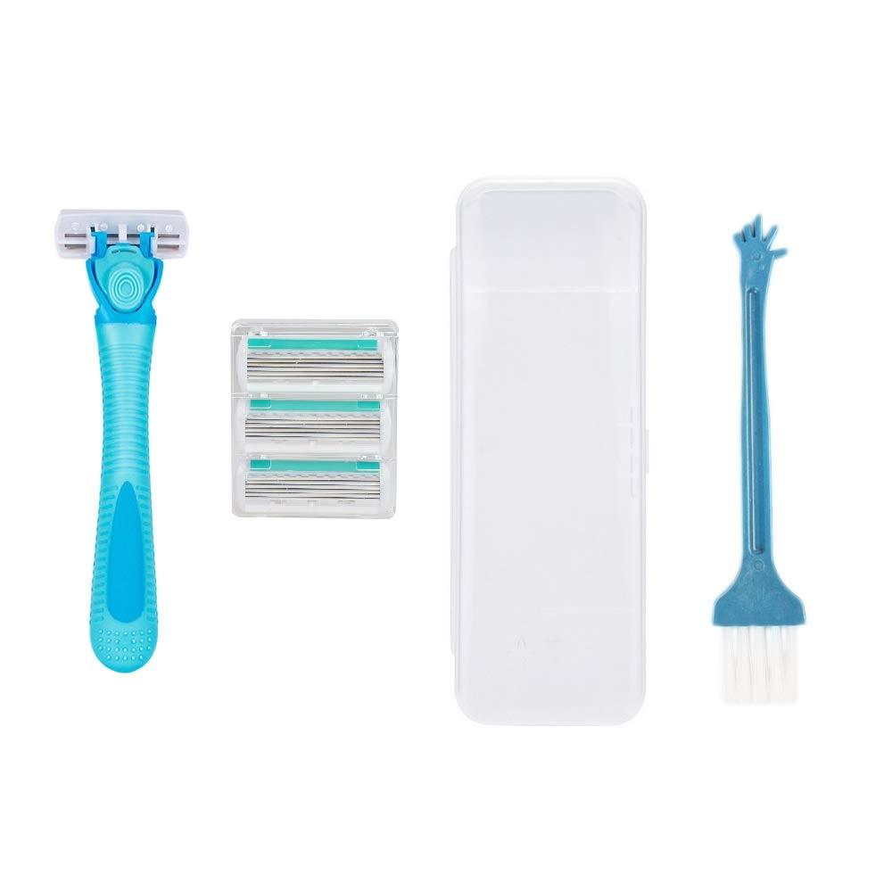 Chris.W Women's 5 Blade Disposable Razor - Women's Shaving Razors - Razor Handle with 4 Blade Refills, 1 Storage Box and 1 Cleaning Brush(Blue)