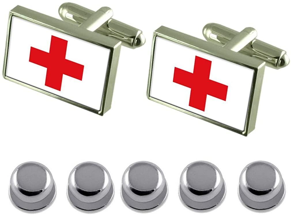 Select Gifts Shirt Dress Studs Red Cross Flag Cufflinks