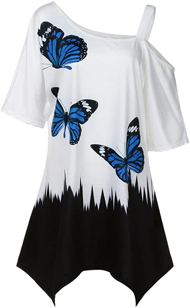Plus Size Women Casual Butterfly Printing Blouse Tops Tunic Cold Shoulder T-Shirt