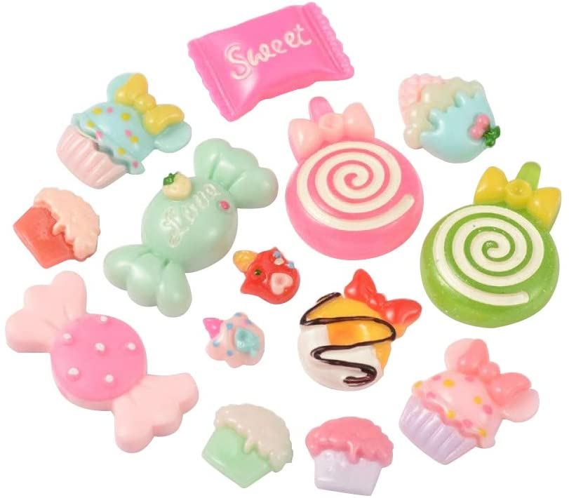 LiQunSweet 50 Pcs Mixed Color Cute Candy & Cake Resin Toys Flatback Flat Backs Cabochons for Craft Party Decoration Srapbooking Embellishment DIY Making - 11~25mm Length