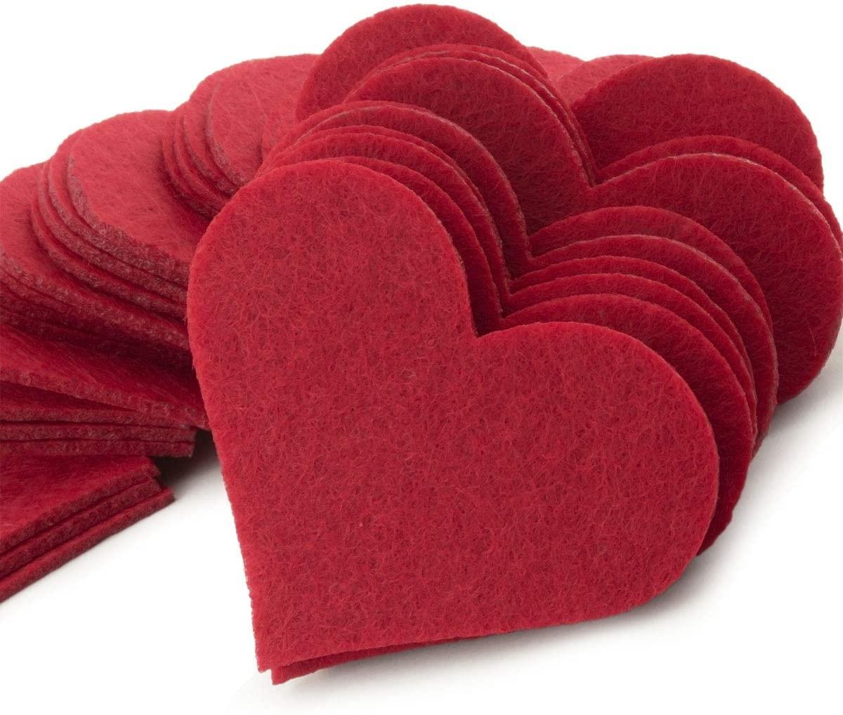 Summer-Ray 100 Red Felt Heart Laser Cutout Scrapbooking Embellishment in 2mm Felt