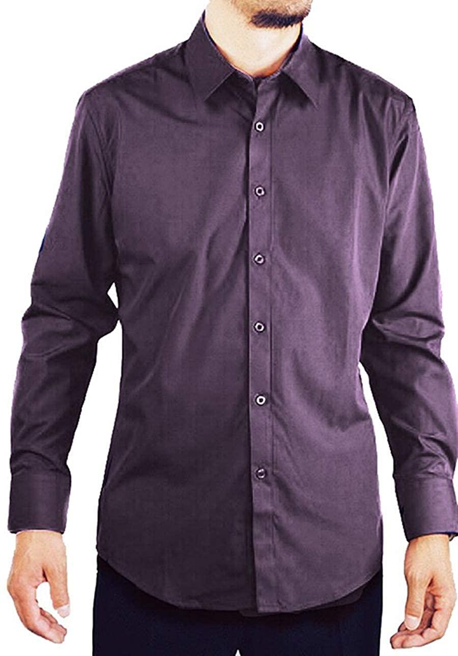 Amanti Men's Slim Fit Dress Shirt Convertible Cuff Solid