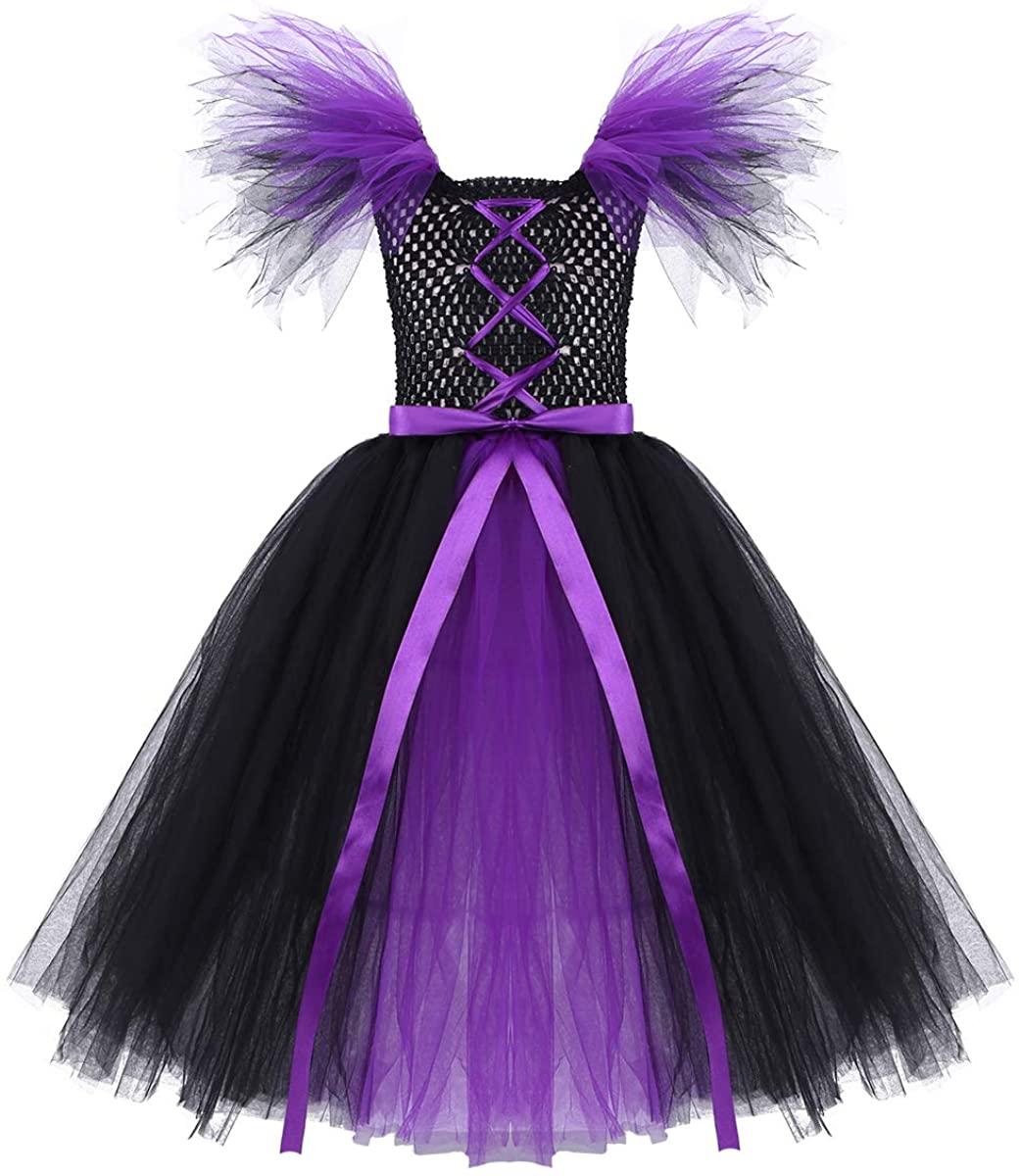 ACSUSS Kids Girls Fairy Tale Princess Tutu Dress Halloween Cosplay Costumes Fancy Dress Up Mystical Quee Witch Dress