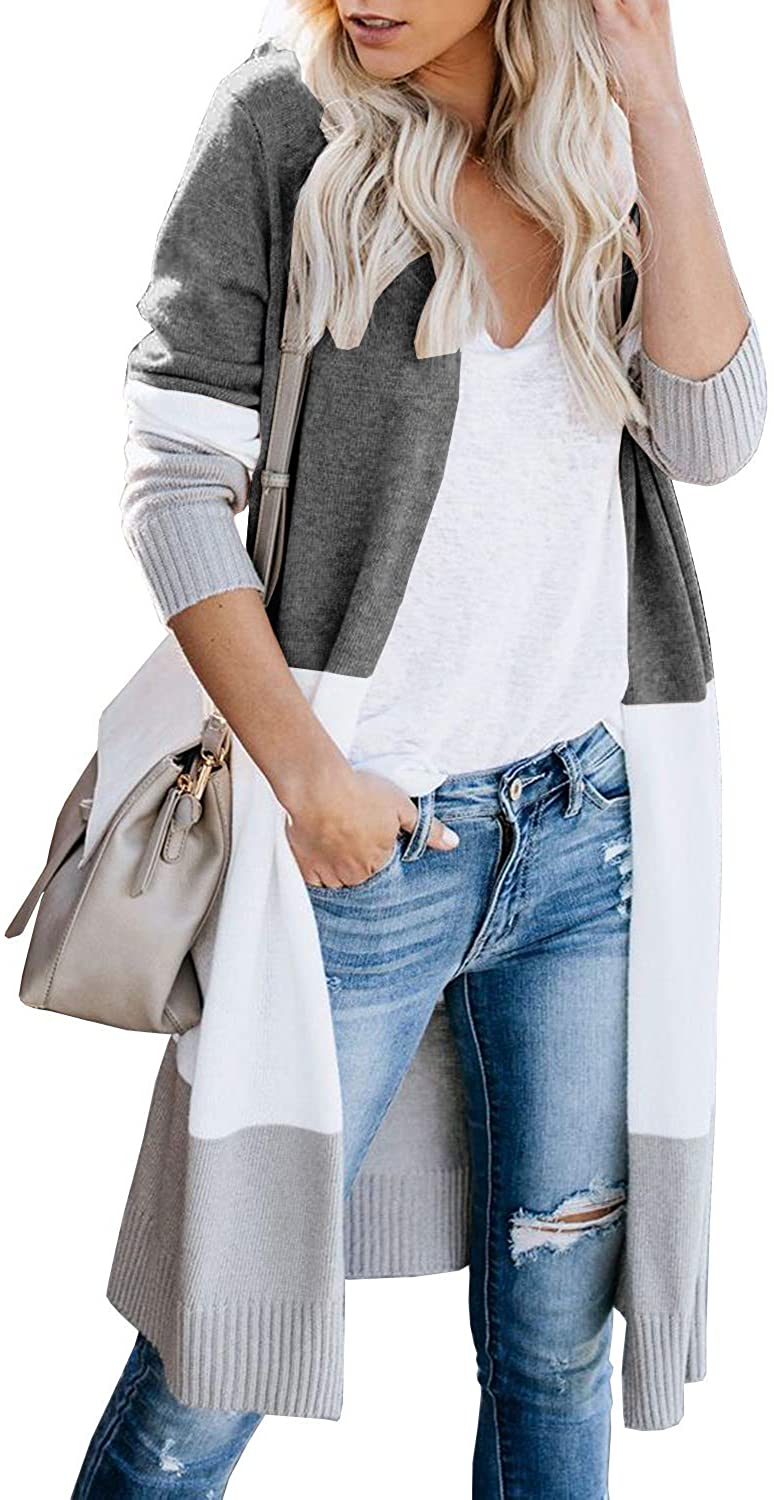 Women Open Front Knit Colorblock Cardigan Sweaters, Loose Long Sleeve Boho Striped Lightweight Casual Coat (B-Gray, L)