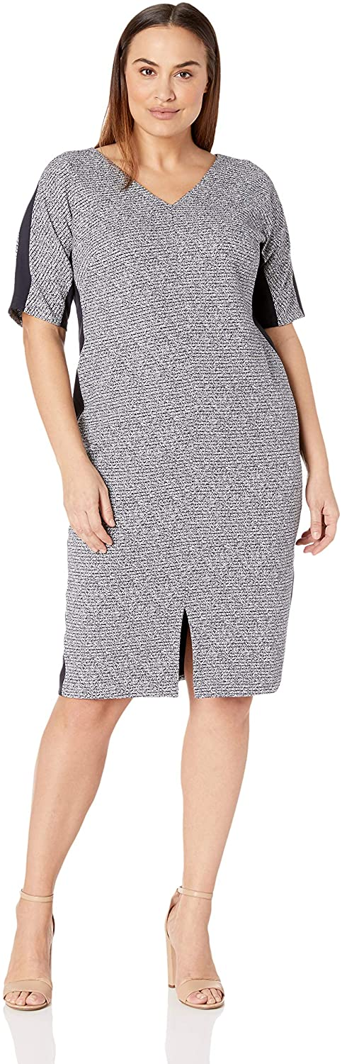 Maggy London Plus Size Women's Arc Shoulder Texture Midi Sheath
