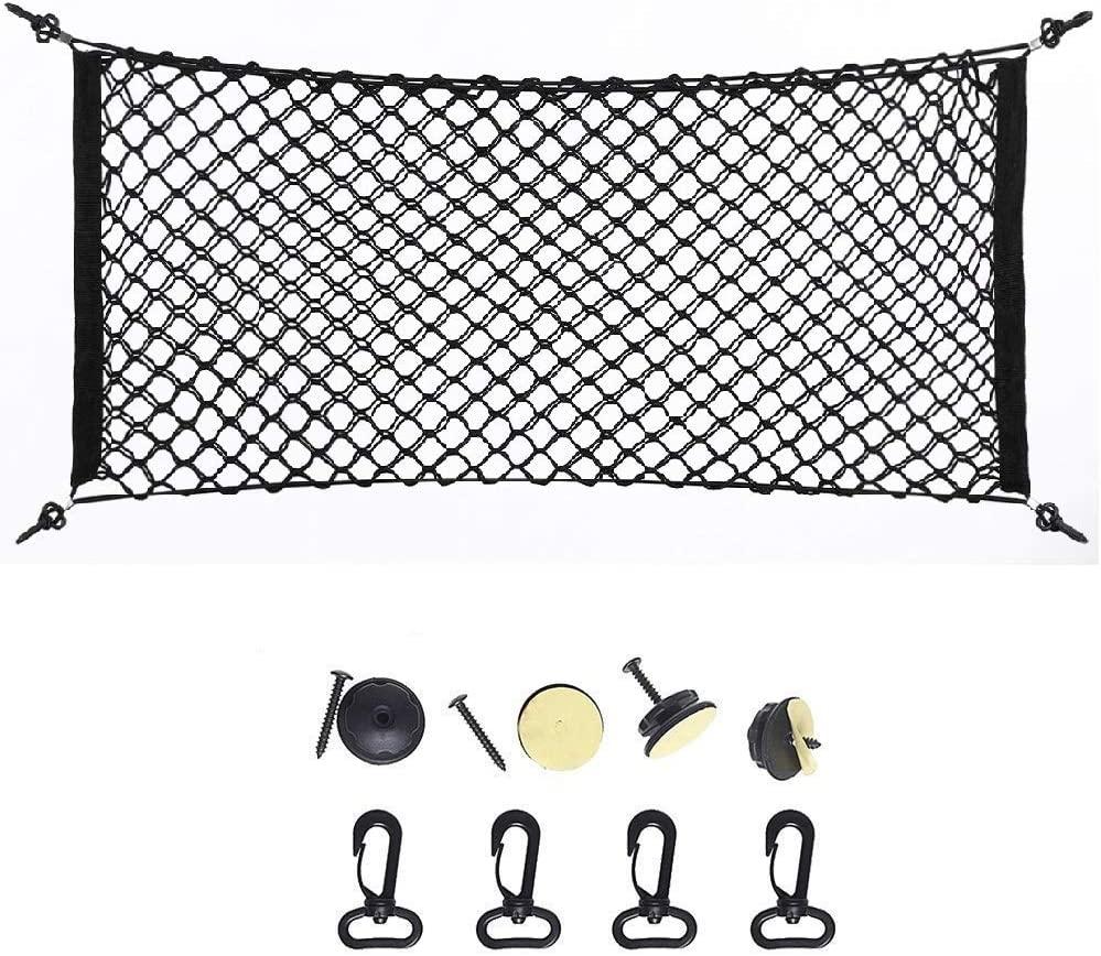 Car Storage Bag,Nylon Plastic Truck Rear Cargo Net Luggage Organizer Hook Pouch Black(39.3X15.7inch)