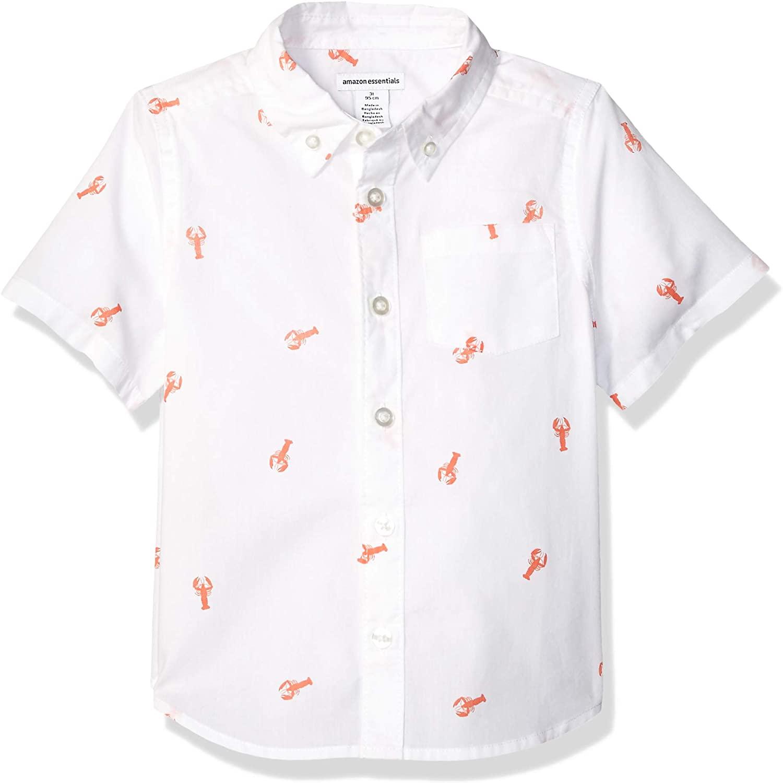 DHgate Essentials Boys Short-Sleeve Woven Poplin Chambray Button-Down Shirts
