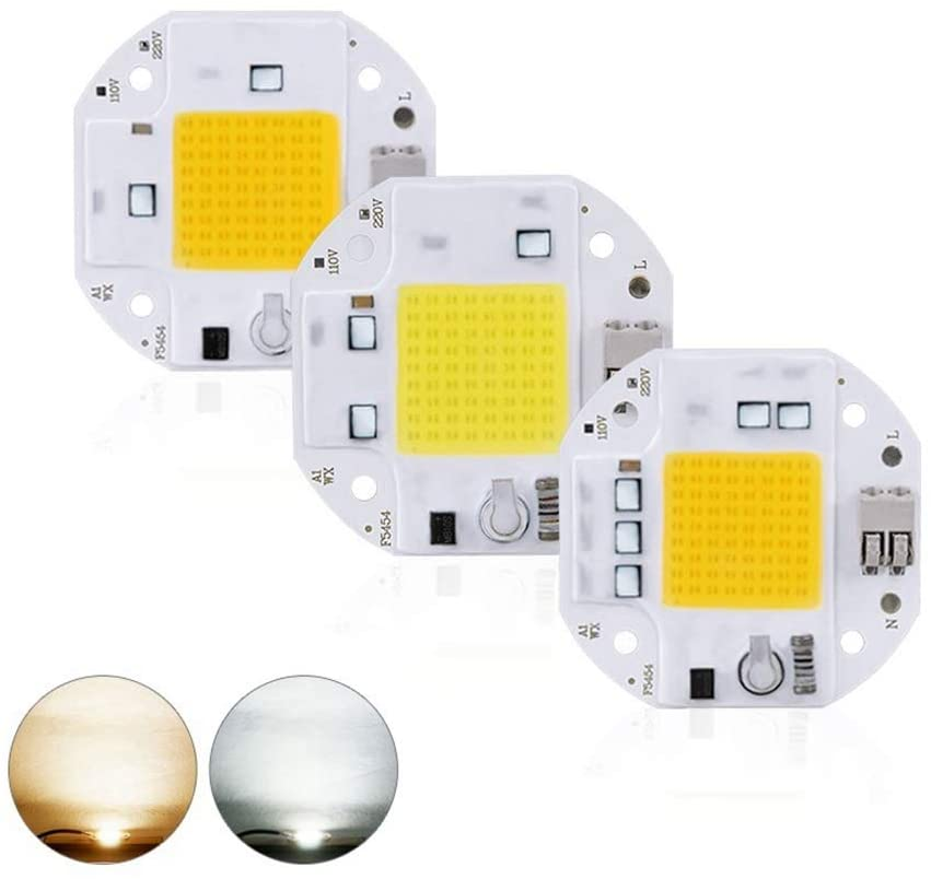 Welsun High Power LED Beads 100W 70W 50W COB LED Chip 220V LED COB Chip Welding Free Diode for Floodlight Floodlights Smart IC No Need Driver 1PCS (Color : White, Wattage : 70W)