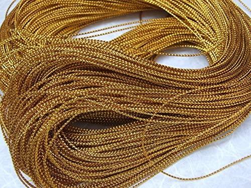 ICRAFY 1 mm. Gold Metallic Rope Polyester Ribbon Glitter 144 Yards