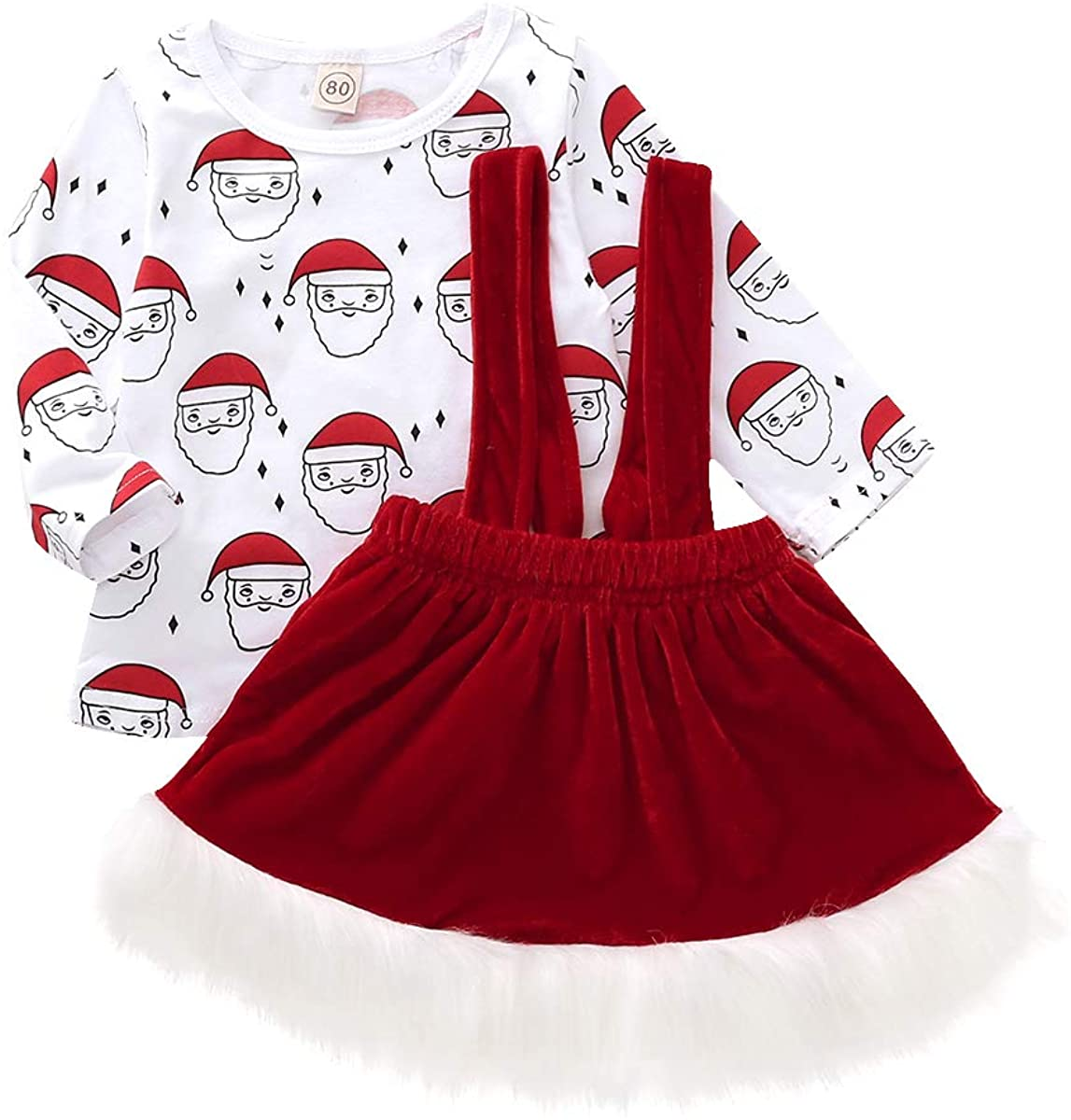Toddler Baby Kids Girls Outfits Santa Claus T-Shirt Tops Red Tutu Party Suspender Skirt Sets Spring Clothes