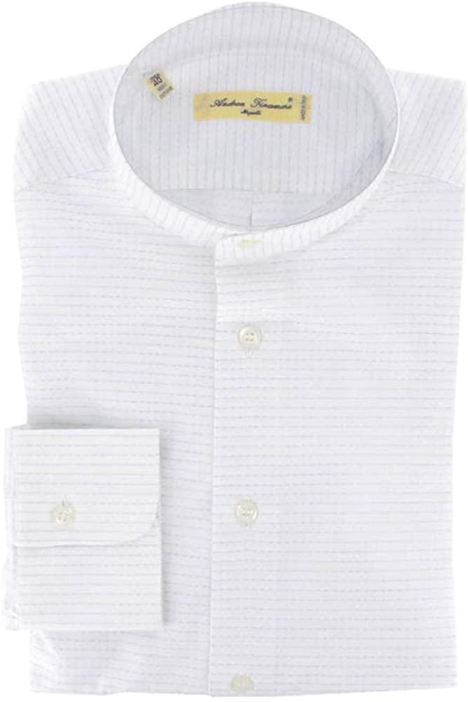 Finamore Napoli Stripes Button Down Mandarin Collar Cotton Slim Fit Dress Shirt