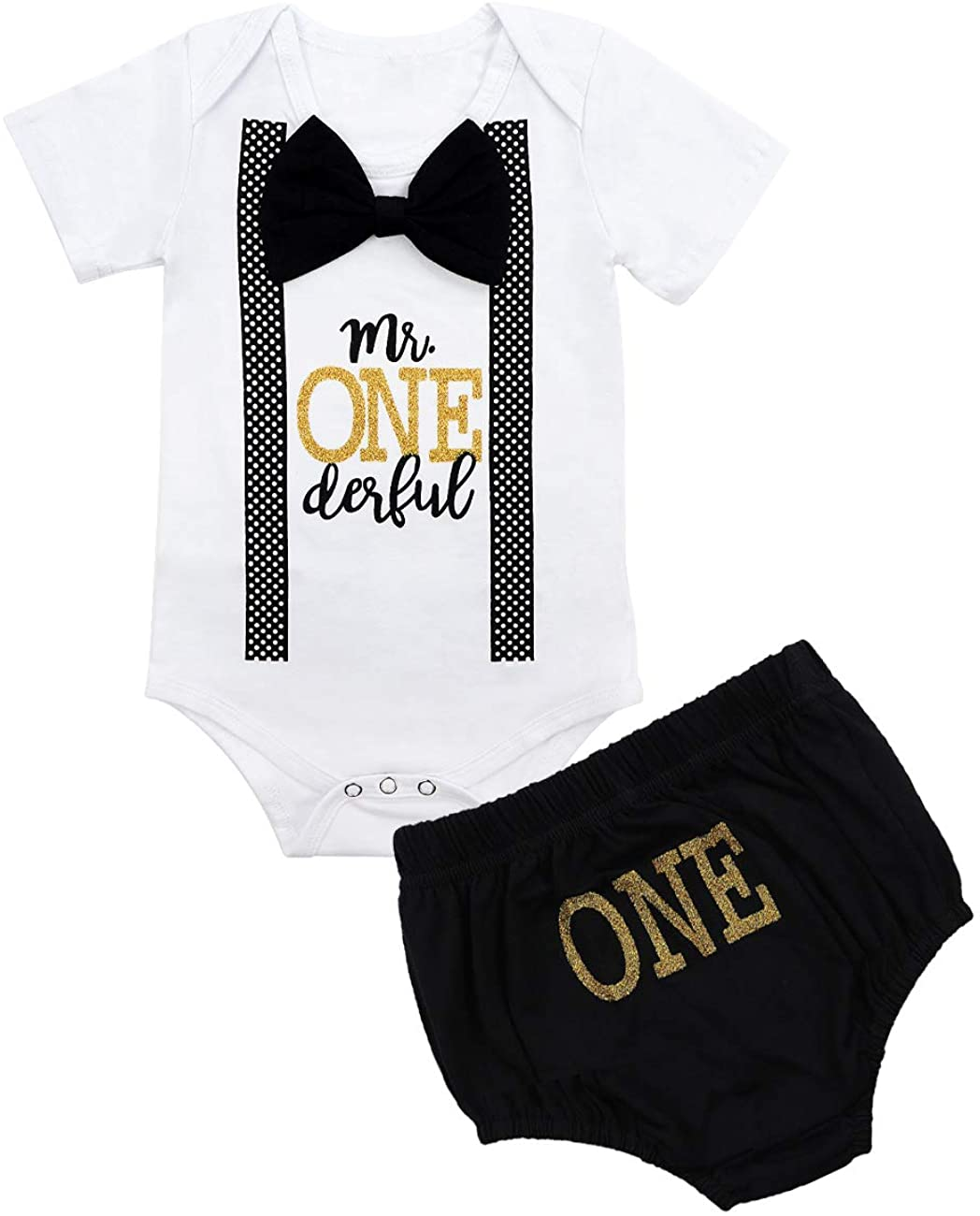 Baby Boy First Birthday Outfit Mr Onederful Bowtie Romper + Shorts Bodysuit Cake Smash Outfits