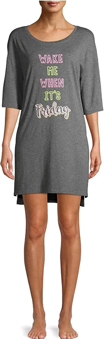 Wake Me When It's Friday Charcoal Heather Gray Nightgown Long Sleepshirt