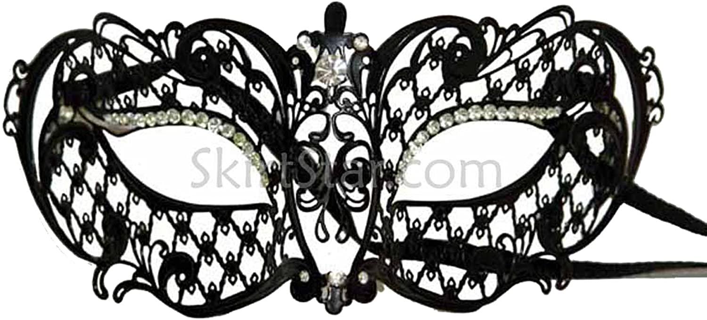 Venetian Black Metal Half Mask
