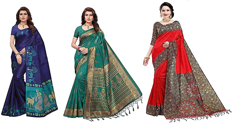 Silk with Blouse Piece Saree (Pack of 3) (T-COM-RITI-Flex_Multicolor_Free Size)