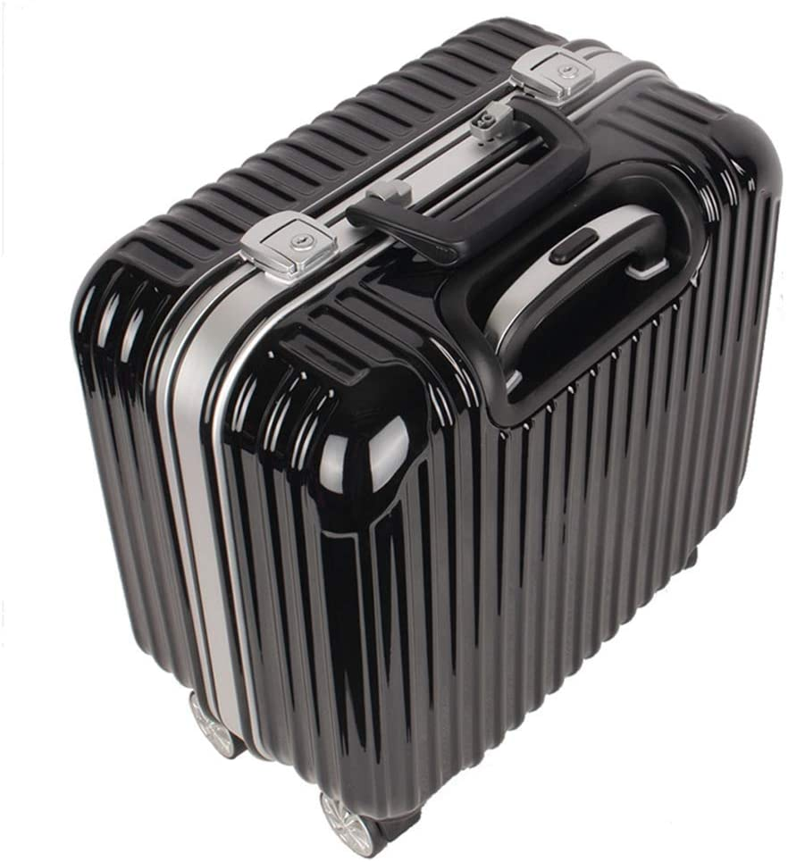 Luggage,Multi-Function ABS+PC 360° Rotating Wheel Waterproof Built-in Anti-Theft locksuitcase 16 inches,Black