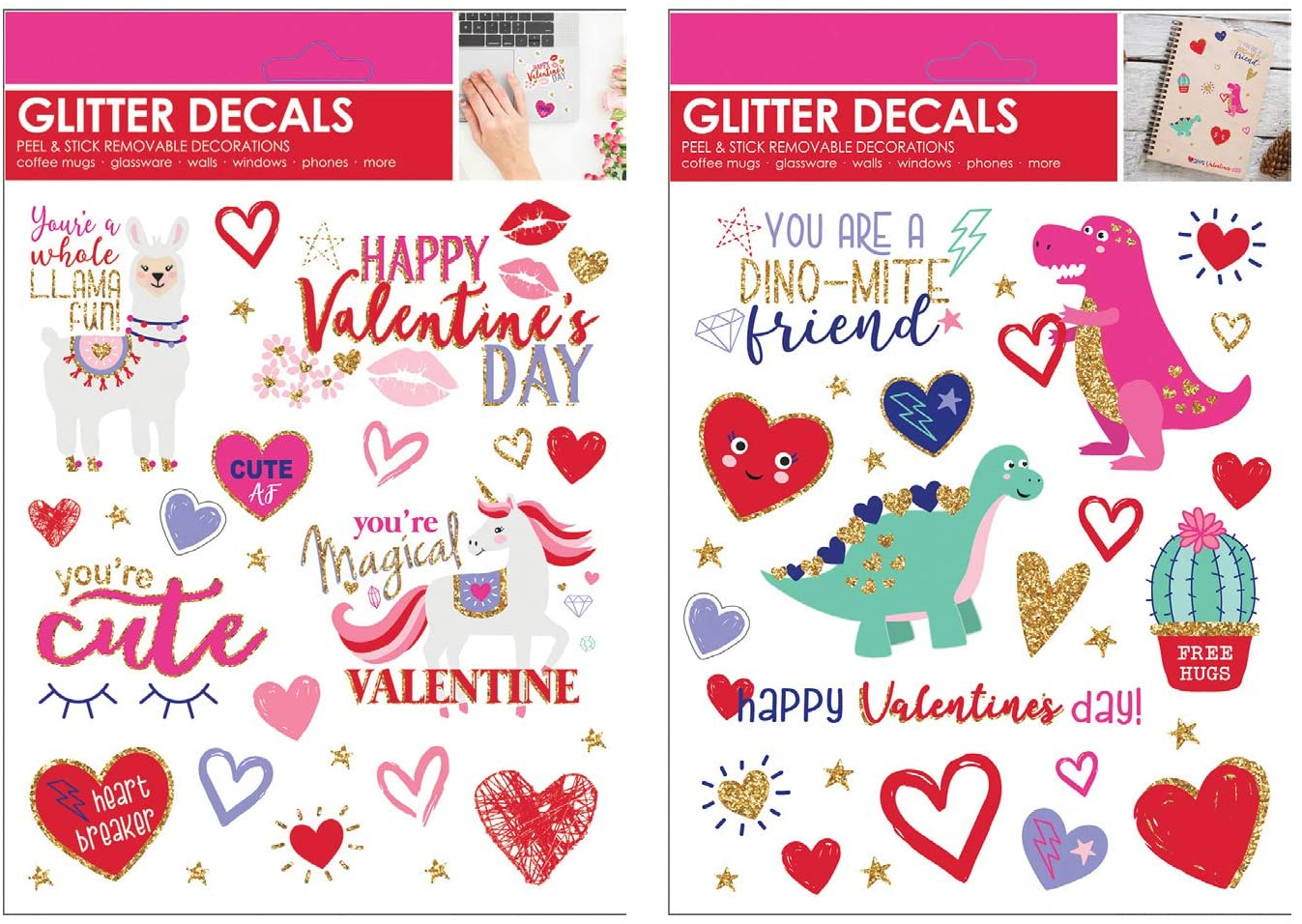 B-THERE Bundle of Valentine's Day Glitter Decals for Books, Cards, Windows, Glass with Llama, Unicorn, Hearts, Dinosaurs