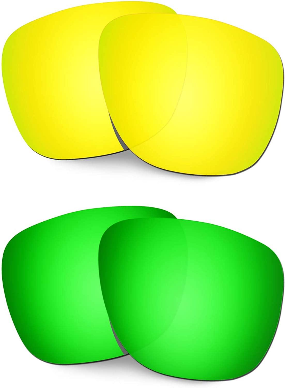 HKUCO Reinforce Replacement Lenses for Oakley Crossrange XL OO9360 24K Gold/Emerald Green Sunglasses