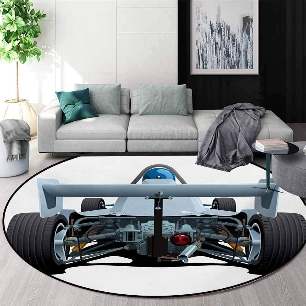 RUGSMAT Cars Non Slip Round Rugs,Back View of A Formula 1 Race Car Rally Competition Sports Cartoon Style Oriental Floor and Carpets,Diameter-35 Inch Bluegrey Black White